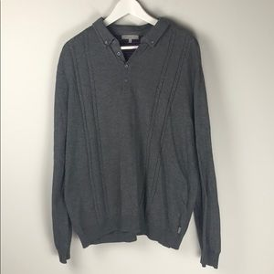 Ted Baker Grey Knit Long Sleeve Polo Shirt Size 6